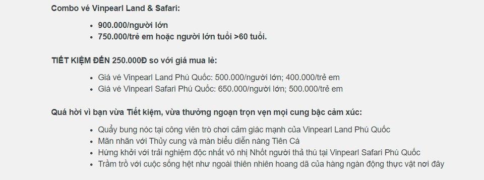 Giá vé Vinpearl Land và Safari Phú Quốc