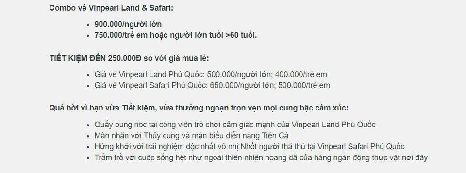 Giá vé vào cổng Vinpearl Land Phú Quốc
